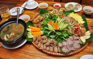 Meticulous basket of shrimp and pork meat roll in Old Hanoi