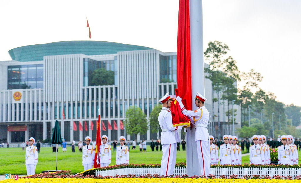 The flag raising and lowering ceremony at Ba Dinh Square