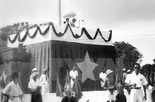 At 2:00 pm, President Ho Chi Minh stepped onto the stage as President of the Provisional Government.