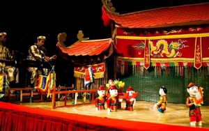 Watching the Traditional Performance at Thang Long Water Puppet Theatre