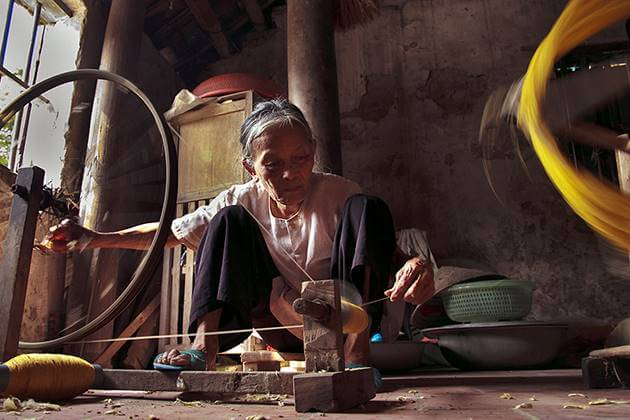 the silk is made by very simple looms