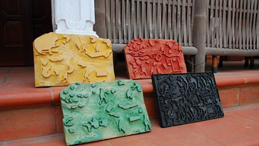 4 woodcuts with 4 basic colors to make a completed painting