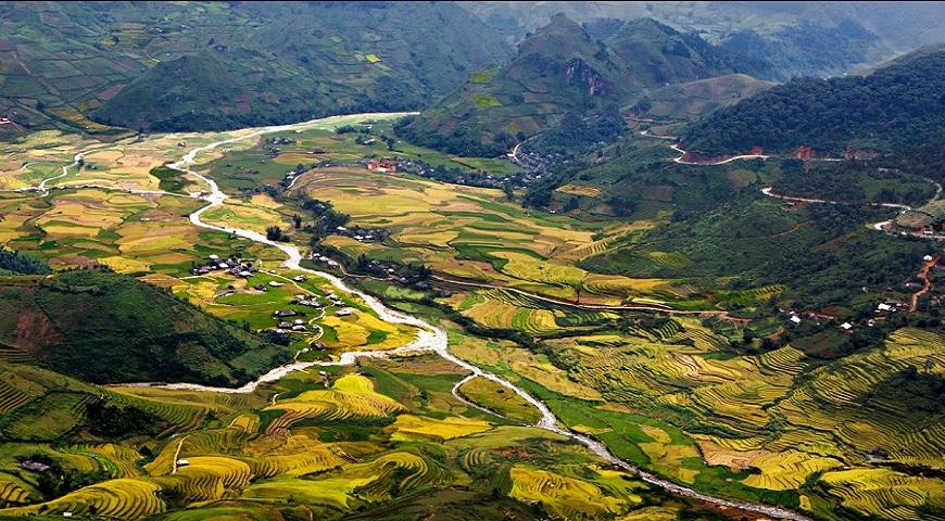 Gorgeous golden valley in harvest season