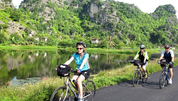 Visitors can rent  bicycle to explore village